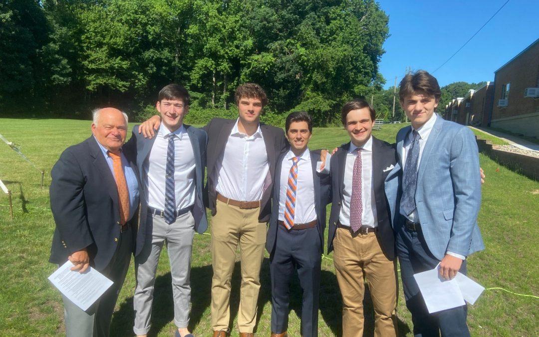 Awardees of the 2020 Wilkins-Roche Herdsman Scholarship (left to right: Coach Roche, Peter Holmberg, Kevin Christ, Dante Giampietro, Thomas Barkauskas, Luke Miniter).